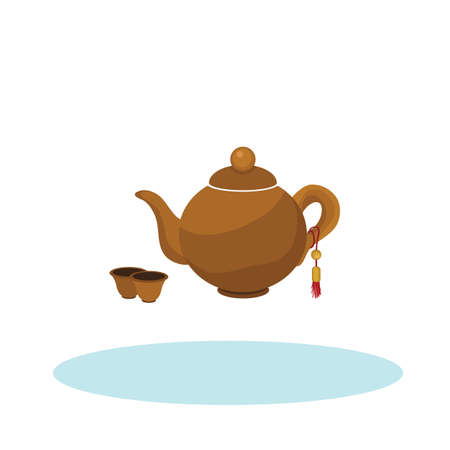 chinese teapot: chinese teapot and cups Illustration