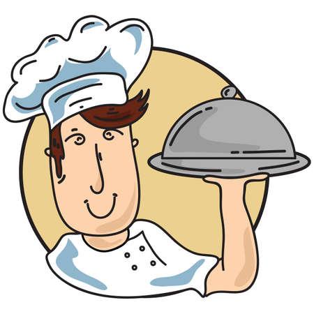 cloche: chef holding cloche
