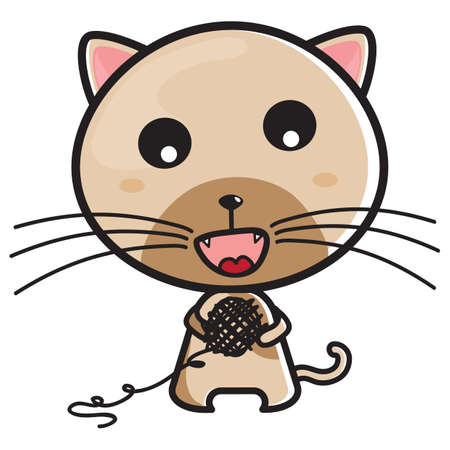 gato jugando: Gato que juega con hilado