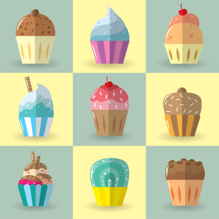 flavours: set of cupcakes