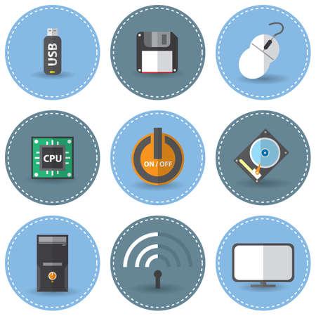 floppy drive: set of technological icons Illustration