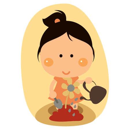 watering plant: girl watering plant