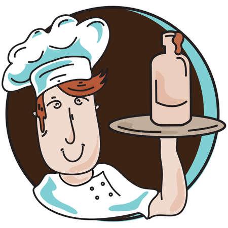 sauce: chef holding sauce bottle Illustration