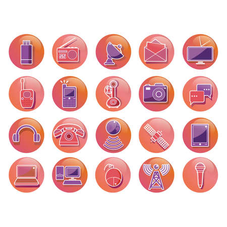 head phones: set of technology icons