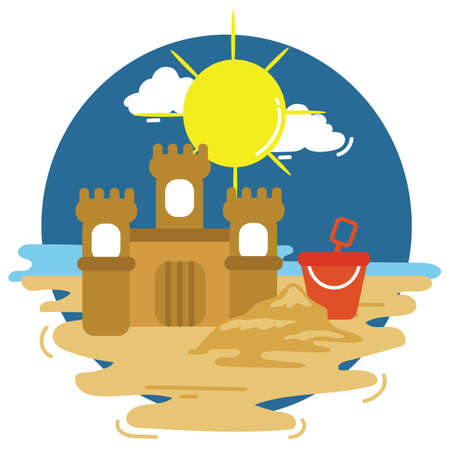sand castle: sand castle on beach Illustration