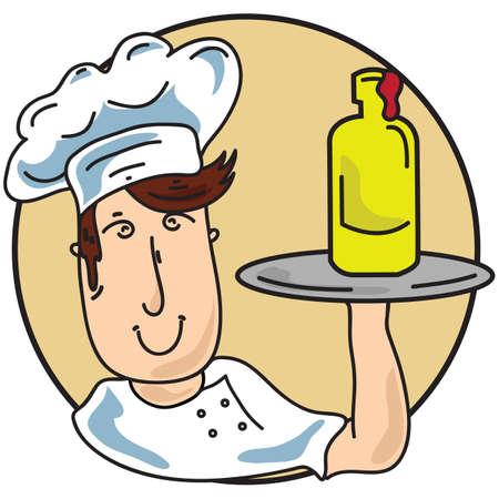 sauce bottle: chef holding sauce bottle Illustration