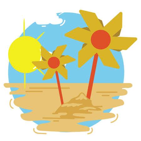 pinwheels on beach Illustration