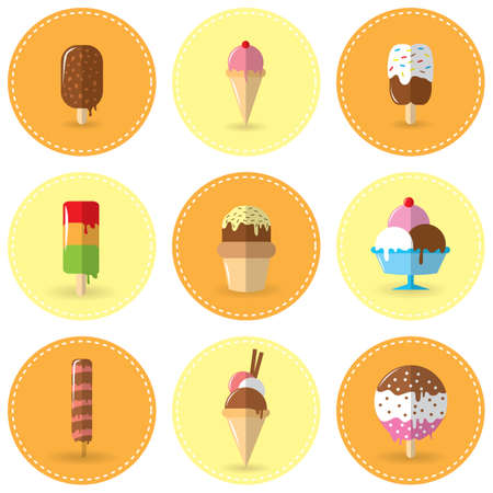 flavour: set of ice cream Illustration