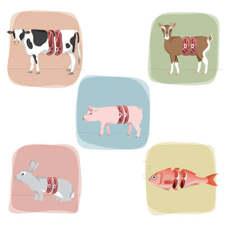 fresh meat: concept of fresh meat cut Illustration
