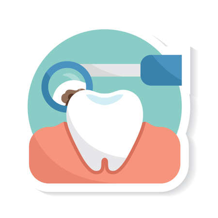 tooth with mouth mirror
