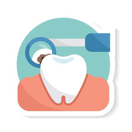 Zahn mit Mundspiegel Standard-Bild - 81469390