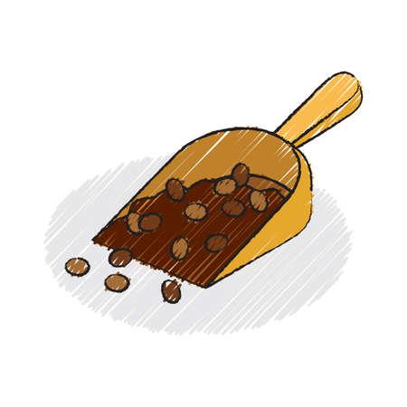 plastic scoop: coffee beans in plastic scoop