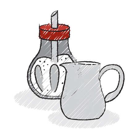 milk jug: coffee sugar bottle and milk jug