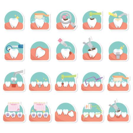 almanac: set of dental icons Illustration