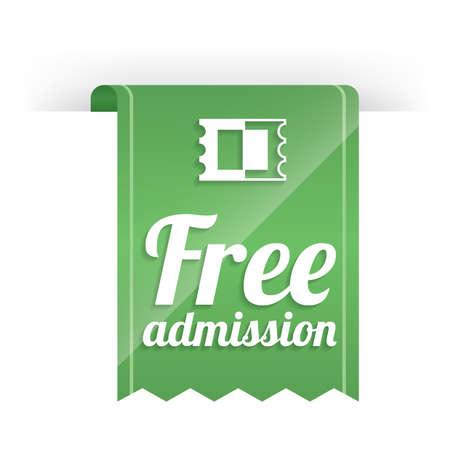 admission: free admission label design Illustration