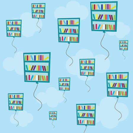 book racks: bookshelf balloons Illustration