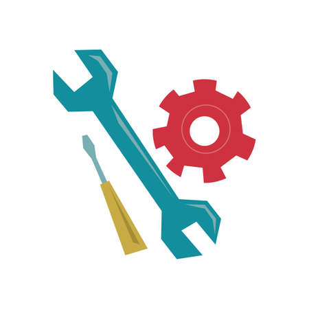 cogwheel: cogwheel with wrench and screwdriver Illustration