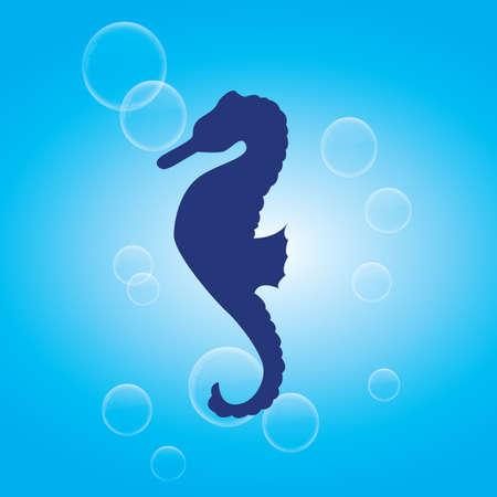 caballo de mar: silueta de pescado de mar caballo Vectores