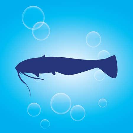 bagre: silueta de pez gato Vectores