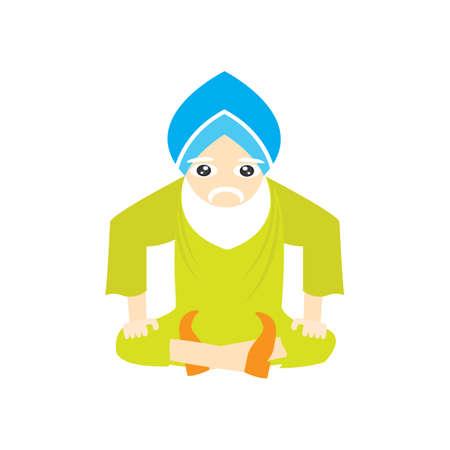 sikh: sikh man sitting Illustration