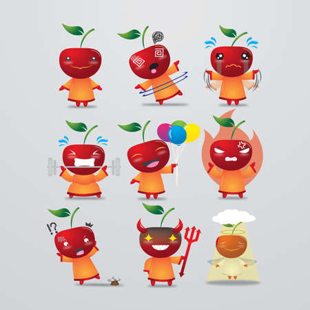 apple character: apple character with different actions