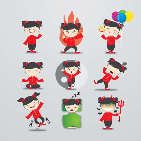 snoring: chinese girl character with different actions