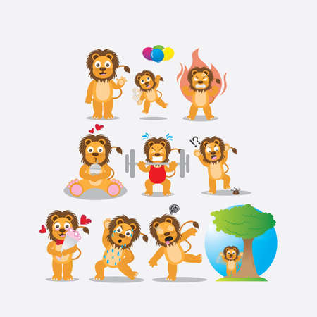 balloon bouquet: lion with different actions Illustration
