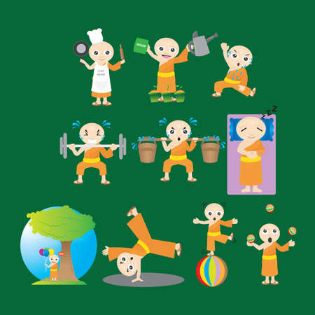 cartwheel: monk with different actions