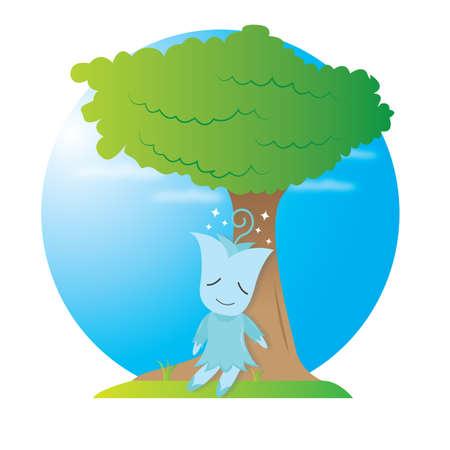taking nap: tulip character taking nap under tree Illustration