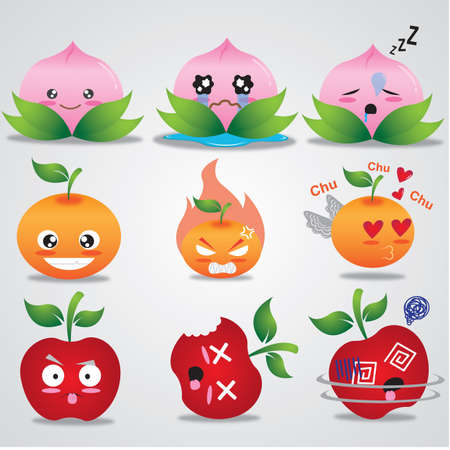 hypnotized: fruits cartoon with different expressions