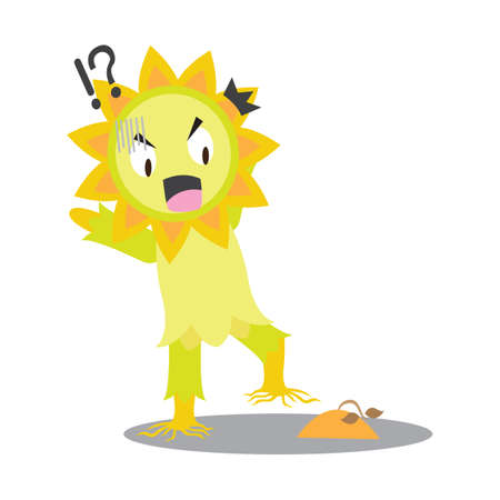 puzzled: sunflower character stepping on poop Illustration