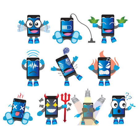 hypnotized: smartphone character with different actions