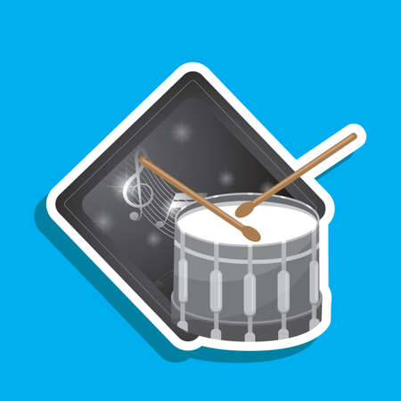 drum and bass: bass drum with stick label