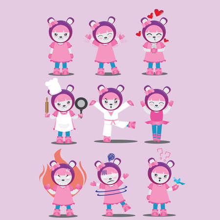 cartoon character with different actions Illustration