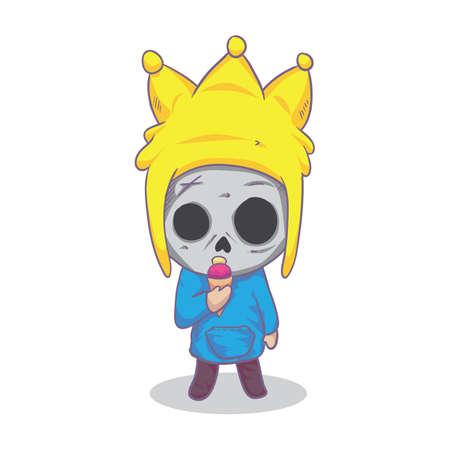 eating ice cream: boy skull eating ice cream cone Illustration