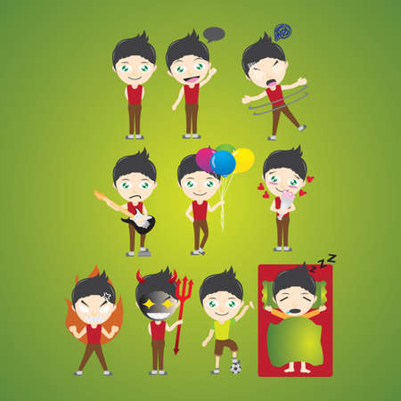 hypnotized: boy character with different actions
