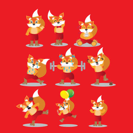 fox character with different actions Illustration