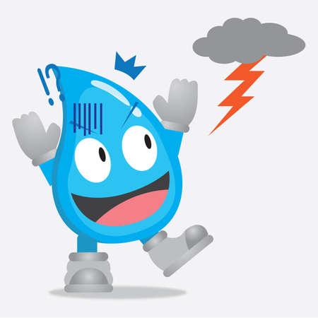 lightening: water drop character frightened by thunder lightening
