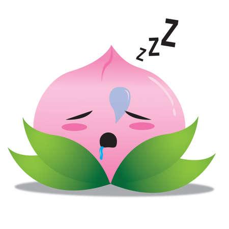 snoring: chinese peach sleeping Illustration