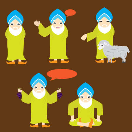 sikh: sikh character with different actions