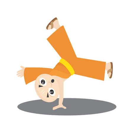 cartwheel: monk doing cartwheel