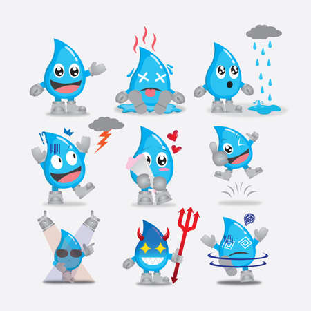 collection of water drops character