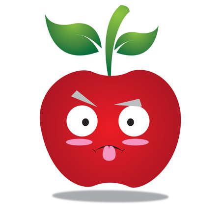 lengua afuera: personaje de manzana con la lengua fuera