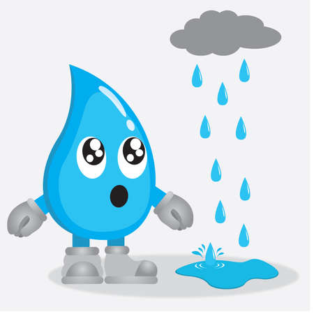 rain drop: water drop character looking at rain