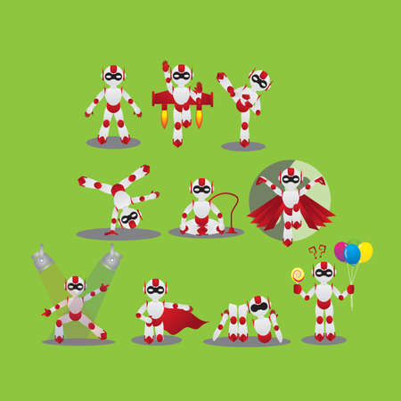 cartwheel: robot with different actions Illustration