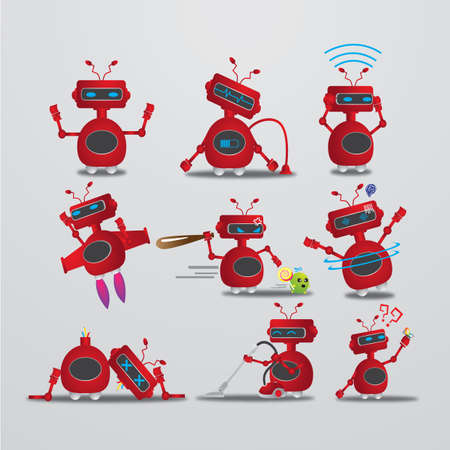 hypnotized: robot with different actions Illustration
