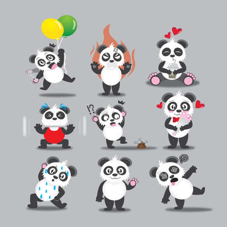 hypnotized: panda with different actions