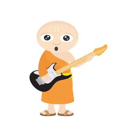 moine: moine jouant de la guitare