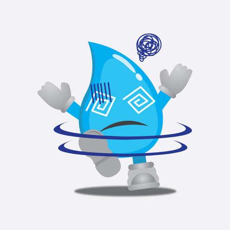 hypnotized: water drop character hypnotized Illustration