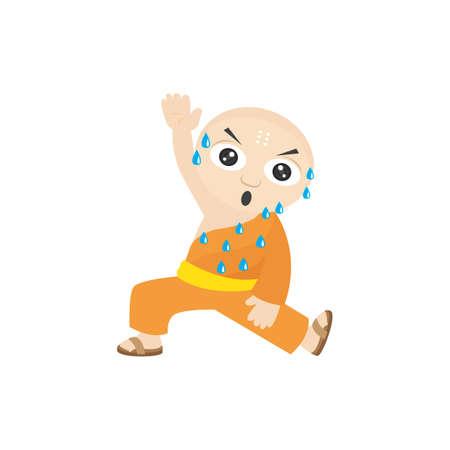exercising: monk exercising Illustration
